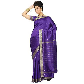 Tessuto viola arte seta Sari Sari India bordo dorato
