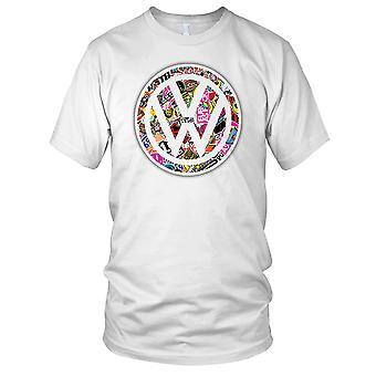 VW Sticker Collage Beetle Campervan T2 Ladies T Shirt