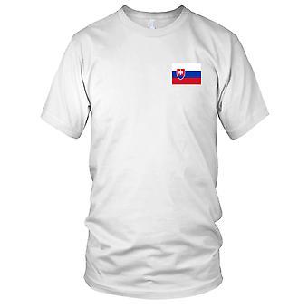 Drapeau National du pays de Slovaquie - brodé Logo - T-Shirt 100 % coton T-Shirt Mens