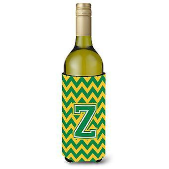 Letter Z Chevron Green and Gold Wine Bottle Beverage Insulator Hugger