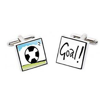 Futebol gol abotoaduras por Sonia Spencer, na apresentação de caixa de presente. Pintados à mão