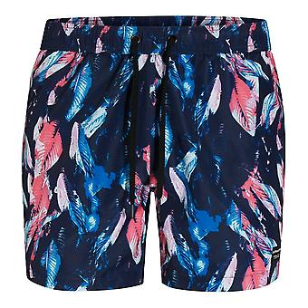 Bjorn Borg Stunning Digital Leaf Print Swim Shorts, Navy/multi