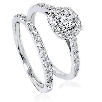 1ct Cushion Halo Diamond Engagement Wedding Ring Set 14K White Gold