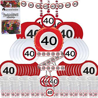 Party box 40 birthday 58-teilig Deco traffic sign party package