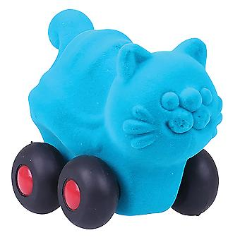 Rubbabu Soft Plush Push Along Aniwheelies Cat (Turquoise)