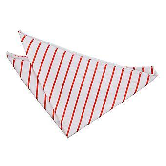 White & Red Single Stripe Einstecktuch