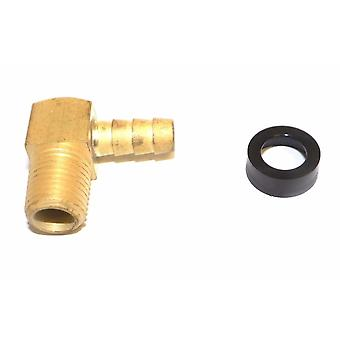Big A Service Line 3-73145 1/4 NPTF Male Thread, 5/16 Inch Hose Barb Brass Elbow
