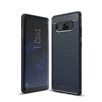 Samsung Galaxy touch 8 TPU caso carbonio fibra ottica spazzolato protettiva custodia blu