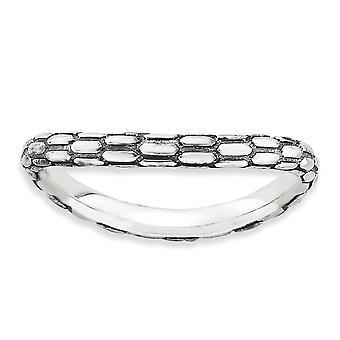 2.25mm 925 Sterling Silver Patterned finish Stapelbare uitdrukkingen gepolijste Wave Ring Sieraden Geschenken voor vrouwen - Ring Grootte