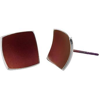 TI2 titanio Piazza a cupola orecchini - Coffee Brown