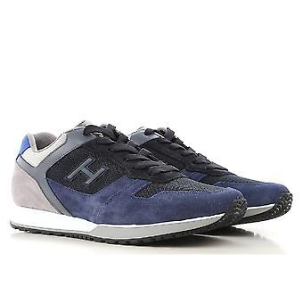 أحذية رياضية أعلى انخفاض أحذية هوجان الرجال جلدية زرقاء