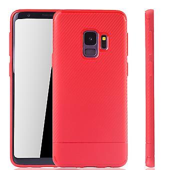 غطاء موبايل سامسونج غالاكسي S9 الكربون شوتزكاسي الأحمر الوفير الألياف البصرية