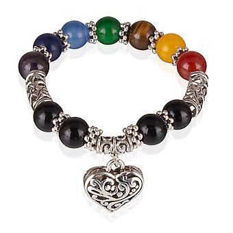 Skeppare armband pärlor från naturlig sten armband resår med hjärta 7785