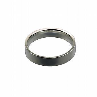 18ct White Gold 5mm plain flat Court shaped Wedding Ring Size Z