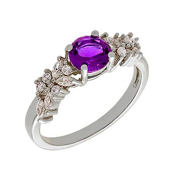 Bertha Juliet Collection Women's 18k WG Plated Purple Cluster Fashion Ring Size 5