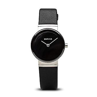 Bering Analog kvarts kvinnors watch med svart läder rem 10126-402