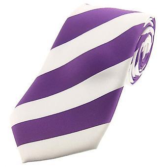 David Van Hagen Bold Stripe Polyester Tie - lilas/blanc