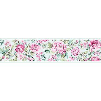 K2 Floral Flowers Roses Wallpaper Border Country House Pink Duck Egg Vintage