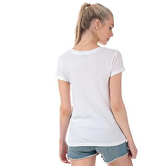 Womens Brave Soul Tropical Embroidered T-Shirt In White