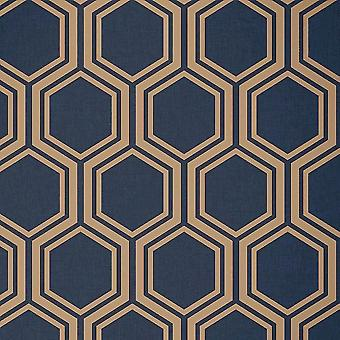Hexagon Geometric Wallpaper Navy Blue Gold Metallic Textured Arthouse Luxe