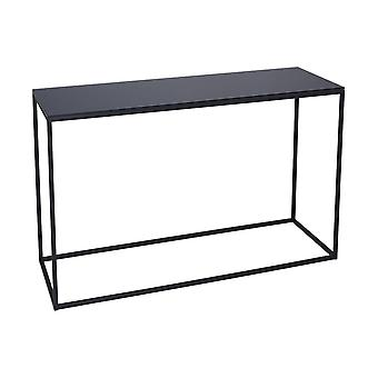 Gillmore Black Glass And Black Metal Contemporary Console Table
