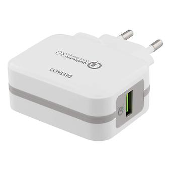 DELTACO Wall Charger USB, Qualcomm Quick Charge 3.0, 19, 5W, White