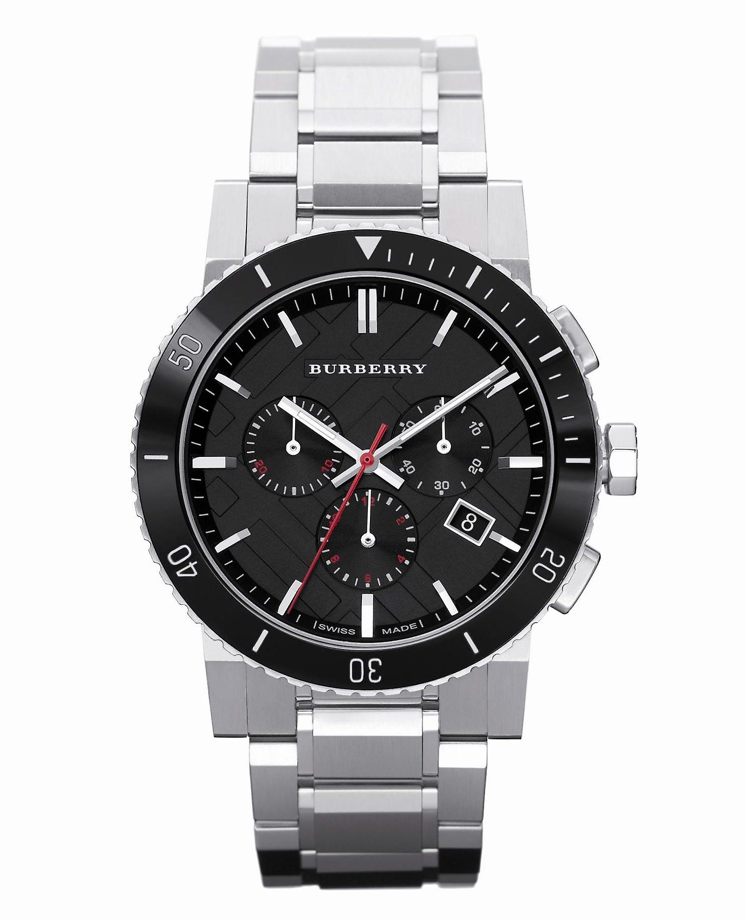 Burberry Bu9380 Black Dial Chronograph Stainless Steel Men's Watch