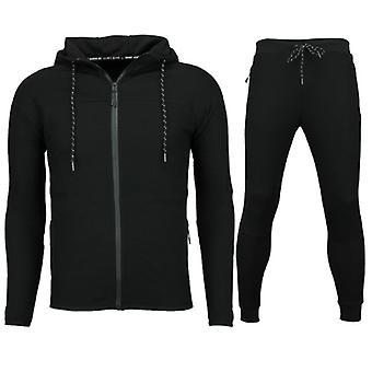 Slim Fit Joggingpak Mannen - Heren Trainingspak Kopen Basic- F552 - Zwart