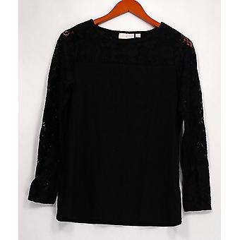 Belle Kim Gravel Women's Top Long Sleeve Lace Detail Black