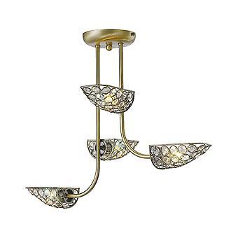 Diyas Ashton Semi Ceiling 4 Light Antique Brass/Crystal