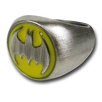Batman Symbol gebürstet Nickel Ring