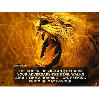 1 Peter 5:8 Poster Be Vigilant Bible Verse Quote Wall Art (24x18)