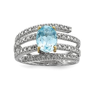 925 Sterling Silver and 14K Sky Blue Topaz and Diamond Ring - Measures 3x6mm - Ring Size: 7 to 8