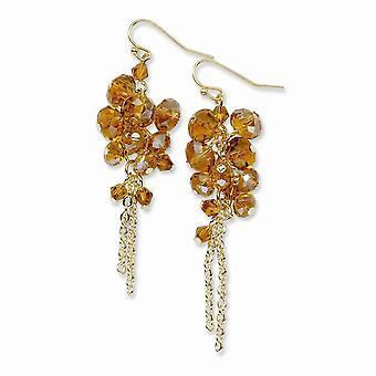 Oro tono pastor gancho oscuro amarillo cristal con cuentas racimo largo gota colgante pendientes regalos de joyería para las mujeres