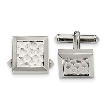 Titanium Polished Hammered Cuff Links Jewelry Gifts for Men