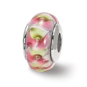 925 Plata esterlina pulido acabado antiguo Reflejos rojo amarillo Murano vidrio perla encanto