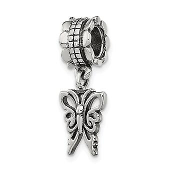 925 Sterling Silber poliert Finish Reflexionen Schmetterling Engel Flügel baumeln Perle Anhänger Anhänger Halskette Schmuck Geschenke f