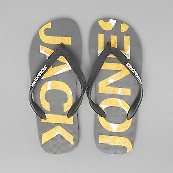Jack & Jones Logo Print Mens Flip Flops Barbados Blue Asphalt