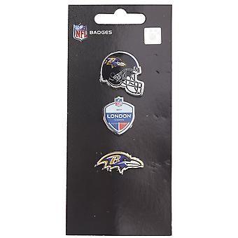 Baltimore Ravens NFL Pin Badge Pin Set of 3 London