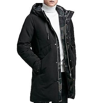 Allthemen Men's Solid Hodded Mid-Length Coat Winter Warm Camo Outwear Fluffy Hoodies