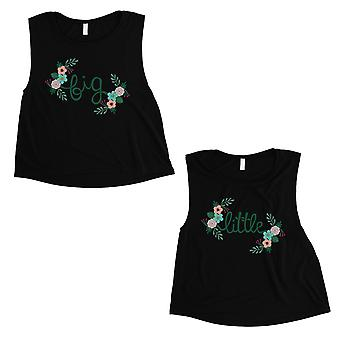 Big Little Floral BFF Matching Crop Top Womens Black Fresh Happy