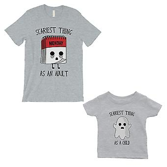 Scariest As Adult Child Dad and Baby Matching Gift T-Shirts Grey