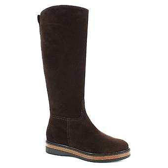 Leonardo Shoes Women's handmade boots in dark brown suede leather side zip