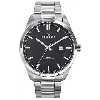 Horloge Certus 616436-zilver staal zwarte wijzerplaat mannen