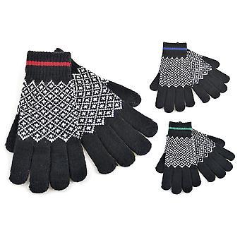 3 paria Pack miesten neulottu Thermal Fairisle kosketusnäyttö talvi käsine musta