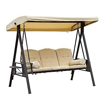 Outsunny Steel Swing Chair Hammock Garden 3 Seater Canopy w/ Cushions Shelter Outdoor Bench Beige