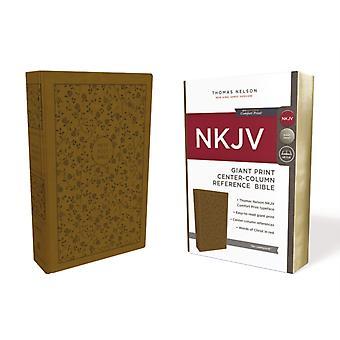 NKJV Reference Bibelen CenterColumn Giant Print Leathersoft Tan Red Letter Comfort Print af Thomas Nelson