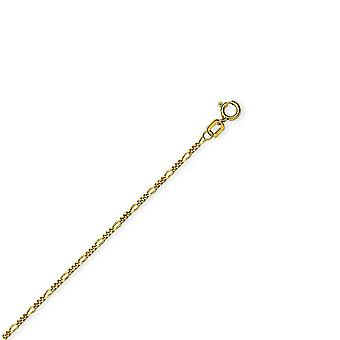 14k Yellow Gold 13 15 Inch Adjustable 1.28mm Figaro Chain Necklace 15 Inch - 1.5 Grams