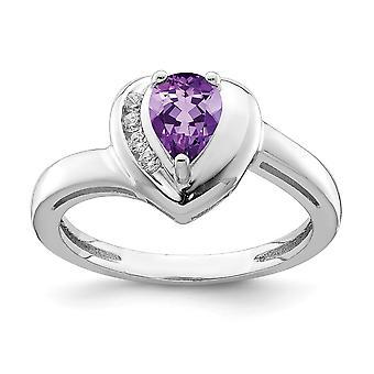 925 Sterling Silver. 65 Αμέθυστος και .08 λευκό Topaz αγάπη δαχτυλίδι καρδιά κοσμήματα δώρα για τις γυναίκες-δακτύλιο μέγεθος: 6 έως 8