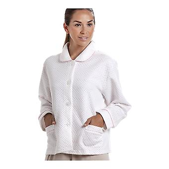 Camille Womens White Bed Jacket avec une impression de point rose